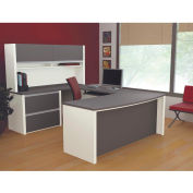 "Bestar® U Desk with Hutch & Lateral - 71"" - Slate & Sandstone - Connexion Series"