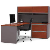 "Bestar® L Desk with Hutch & Lateral - 71"" - Bordeaux & Slate - Connexion Series"