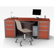 Connexion Executive Desk with Two Pedestals in Bordeaux & Slate