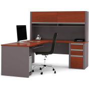 Connexion L-Shaped Workstation with Hutch in Bordeaux & Slate