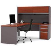 """Bestar® L Desk with Hutch & Pedestal - 71""""- Bordeaux & Slate - Connexion Series"""