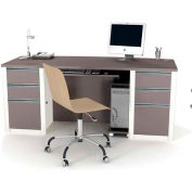 Connexion Executive Desk with Two Pedestals in Sandstone & Slate