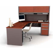 Connexion L-Shaped Workstation with Pedestal in Bordeaux & Slate