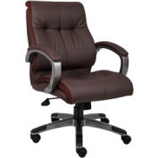 Boss Double Plush Executive Office Chair - Leather - Mid Back - Brown