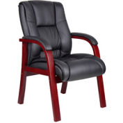 Boss Reception Guest Chair with Arms - Mid Back - Mahogany
