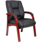 Boss Reception Guest Chair with Arms - Mid Back - Black
