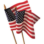 "12 x 18"" US Hand-Held Stick Flag with Gold Speartip, Pack of 12"