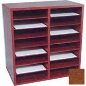 16 Compartment Literature Organizer - Medium Oak Laminate