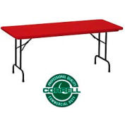 """Blow-Molded Commercial Duty Folding Table 24"""" x 48"""", Red"""