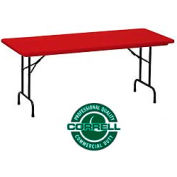 "Blow-Molded Commercial Duty Folding Table 30"" x 60"", Red"