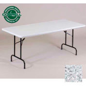 "Blow-Molded Commercial Duty Folding Table 30"" x 72"", Gray Granite"