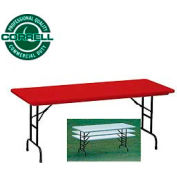 """Blow-Molded Commercial Duty Adjustable Height Folding Table 24""""x48"""" Red"""