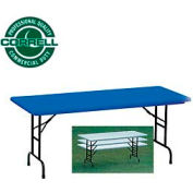 "Blow-Molded Commercial Duty Adjustable Height Folding Table 24""x48"" Blue"