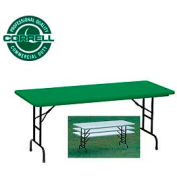 """Blow-Molded Commercial Duty Adjustable Height Folding Table 24"""" x 48"""" Green"""