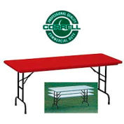 "Blow-Molded Commercial Duty Adjustable Height Folding Table 30"" x 72"", Red"