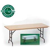"Correll Adjustable Height Folding Table - Blow Molded - 30"" x 60"" Mocha Granite"