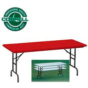 "Blow-Molded Commercial Duty Adjustable Height Folding Table 30"" x 60"" Red"