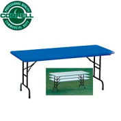 "Blow-Molded Commercial Duty Adjustable Height Folding Table 30"" x 60"" Blue"