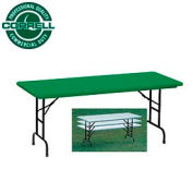 "Blow-Molded Commercial Duty Adjustable Height Folding Table 30"" x 60"" Green"