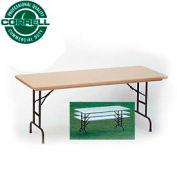 "Correll Adjustable Height Folding Table - Blow Molded - 30"" x 72"" Mocha Granite"