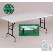 "Blow-Molded Commercial Duty Adjustable Ht. Folding Table 30"" x 96"" Gray Granite"