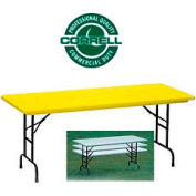 """Blow-Molded Commercial Duty Adjustable Ht. Folding Table 30"""" x 72"""", Yellow"""