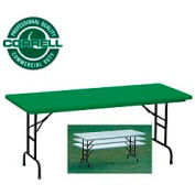 """Blow-Molded Commercial Duty Adjustable Height Folding Table 30"""" x 72"""", Green"""