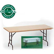 "Blow-Molded Commercial Duty Adjustable Ht. Folding Table 30""x96""Mocha Granite"