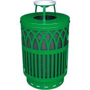 Covington Series 40 Gallon Steel Receptacle w/ Ash Top & Plastic Base - Green