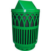 Covington Series 40 Gallon Steel Receptacle w/ Swing Top & Plastic Base - Green