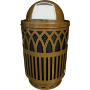 Covington Series 40 Gallon Steel Receptacle w/ Dome Top & Plastic Base - Brown