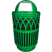 Covington Series 40 Gallon Steel Receptacle w/ Dome Top & Plastic Base - Green