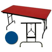"3/4"" High Pressure Laminated Adj. Height Folding Table, 30 x 96"", Blue"