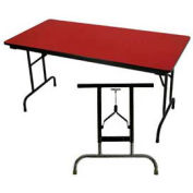 """3/4"""" High Pressure Laminated Adj. Height Folding Table, 36 x 72"""", Red"""