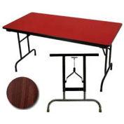 "3/4"" High Pressure Laminated Adj. Height Folding Table, 36 x 72"", Walnut"