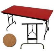 "3/4"" High Pressure Laminated Adj. Height Folding Table, 30 x 96"", Oak"
