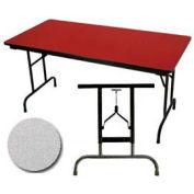 "3/4"" High Pressure Laminated Adj. Height Folding Table, 30 x 96"", Gray Nebula"