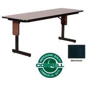 """Training - Panel Leg, Folding Table. 24"""" x 72"""", Black Granite Top"""