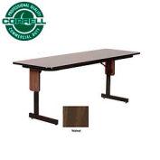 "Training - Panel Leg, Folding Table. 24"" x 96"", Walnut Top"