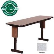 "Training - Panel Leg, Adjustable Height Folding Table. 18""x 60"" Gray Granite Top"