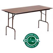 """Counter-Standing 36"""" Height Folding Table 5/8"""" Melamine Walnut Top 30""""x72"""""""