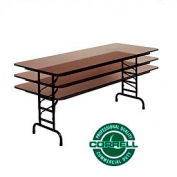 """Commercial Duty Folding Table, Adjustable Height 30"""" x 60"""" Walnut top"""