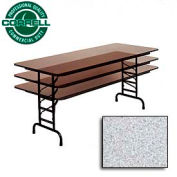 """Commercial Duty Folding Table, Adjustable Height 30"""" x 72"""" Gray Granite Top"""