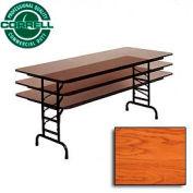 "Commercial Duty Folding Table, Adjustable Height 30"" x 72"" Medium Oak Top"