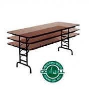 "Commercial Duty Folding Table, Adjustable Height 30"" x 96"" Walnut top"