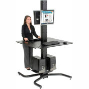 "81""H Complete Freestanding Orbit Computer Kiosk with VESA Mounts - Black"