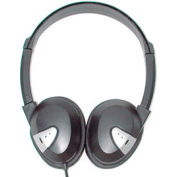 Headphones with Vinyl Earpads and Adjustable Headband Black