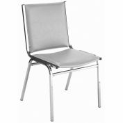"Durable Multi-Purpose Armless Stack Chair - 1"" thick Seat Light Gray Vinyl"