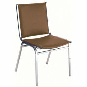 "Durable Multi-Purpose Armless Stack Chair - 1"" thick Seat Brown Vinyl"