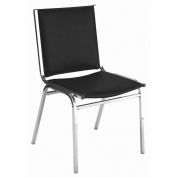 "Durable Multi-Purpose Armless Stack Chair - 1"" thick Seat Black Vinyl"